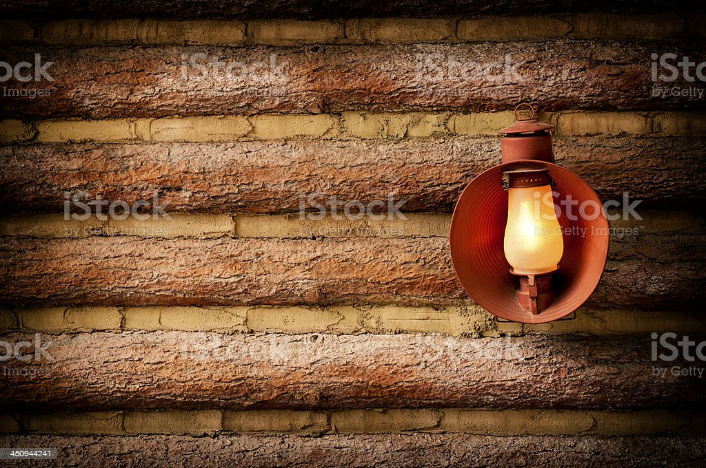 Log Cabin with Lantern stock photo