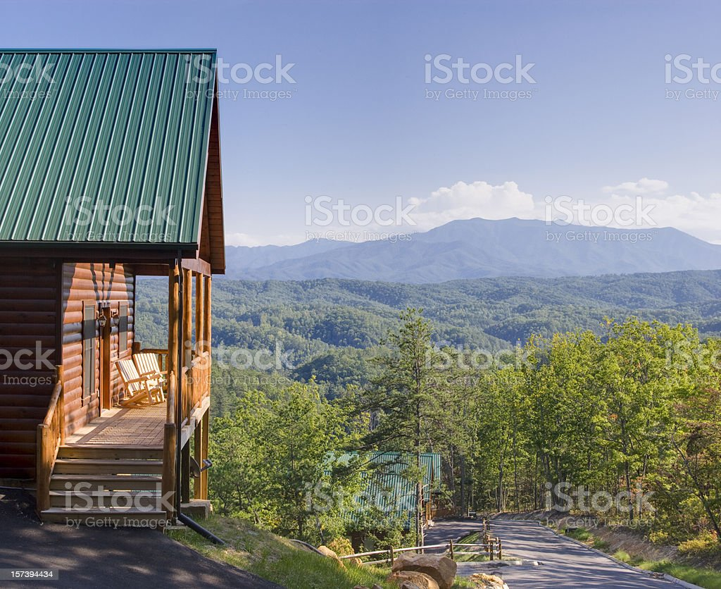 Log Cabin with stunning view royalty-free stock photo