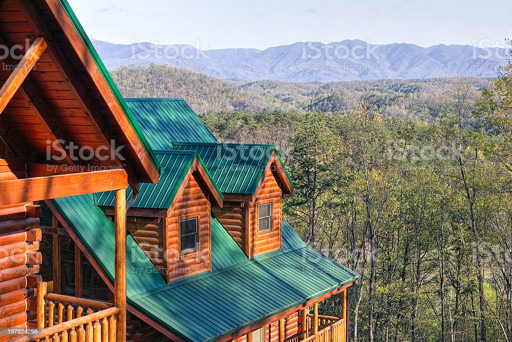 Log Cabins in the Smoky Mountains (XXL) stock photo