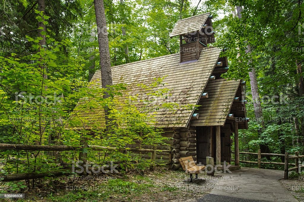 Log Chapel In The Woods stock photo
