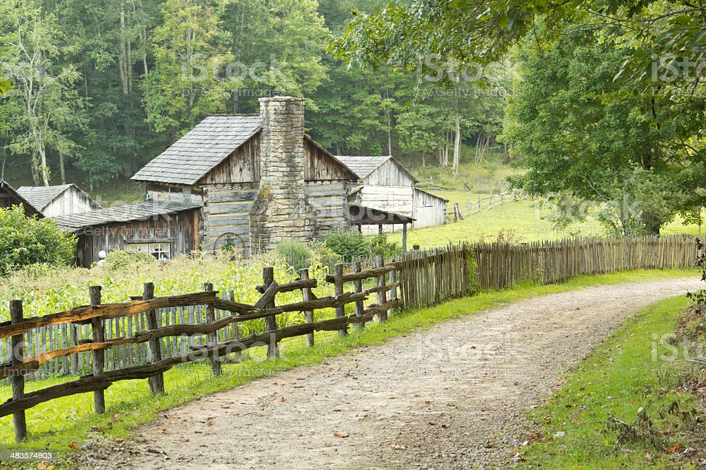 Log Farmhouse on Country Road stock photo