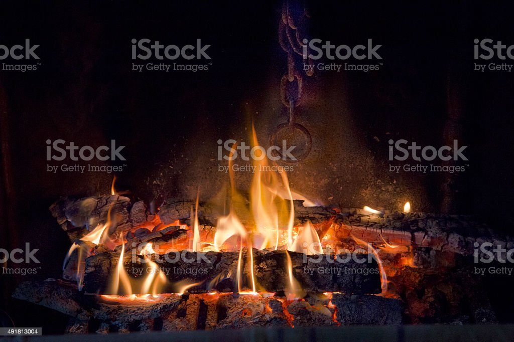 Log fire burning in the hearth stock photo