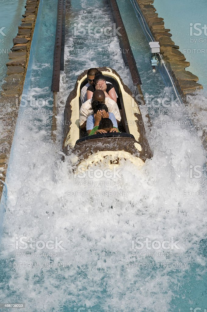Log Flume Ride at Great Adventure stock photo