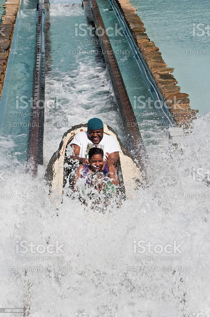 Log Flume Ride at Six Flags Great Adventure stock photo