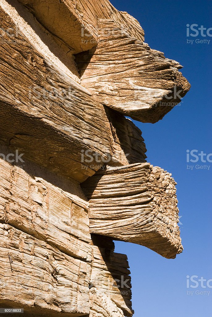 log home detail stock photo