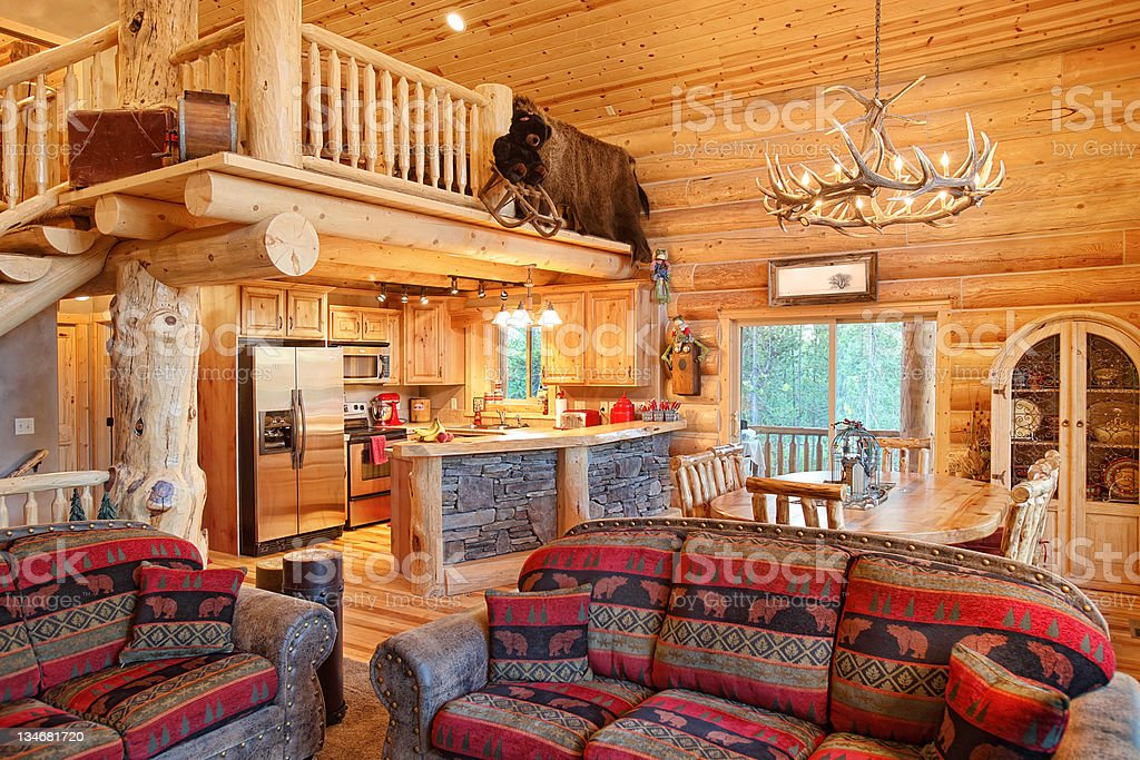Log Home Interior stock photo