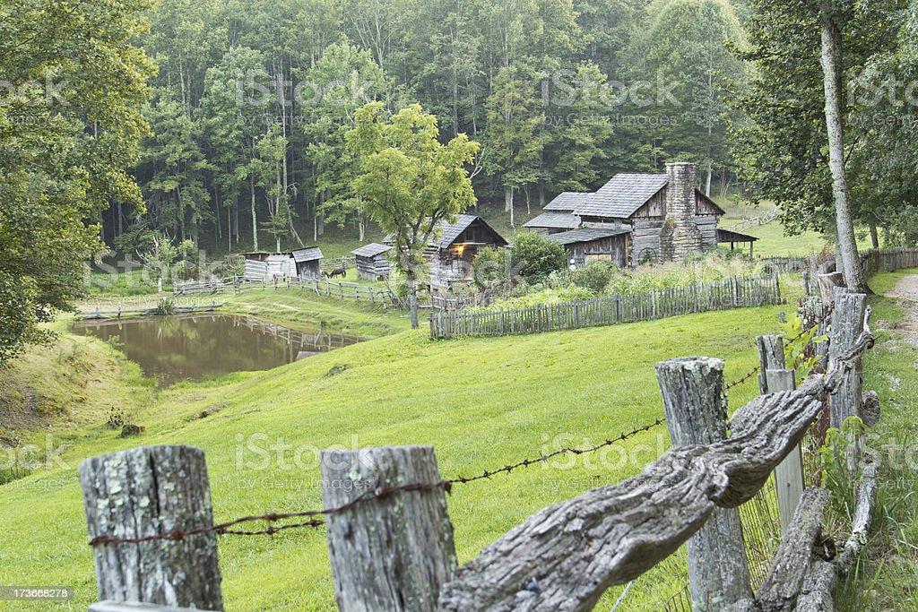 Log Home on Farm stock photo