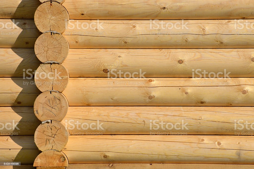 Log home wall detail stock photo