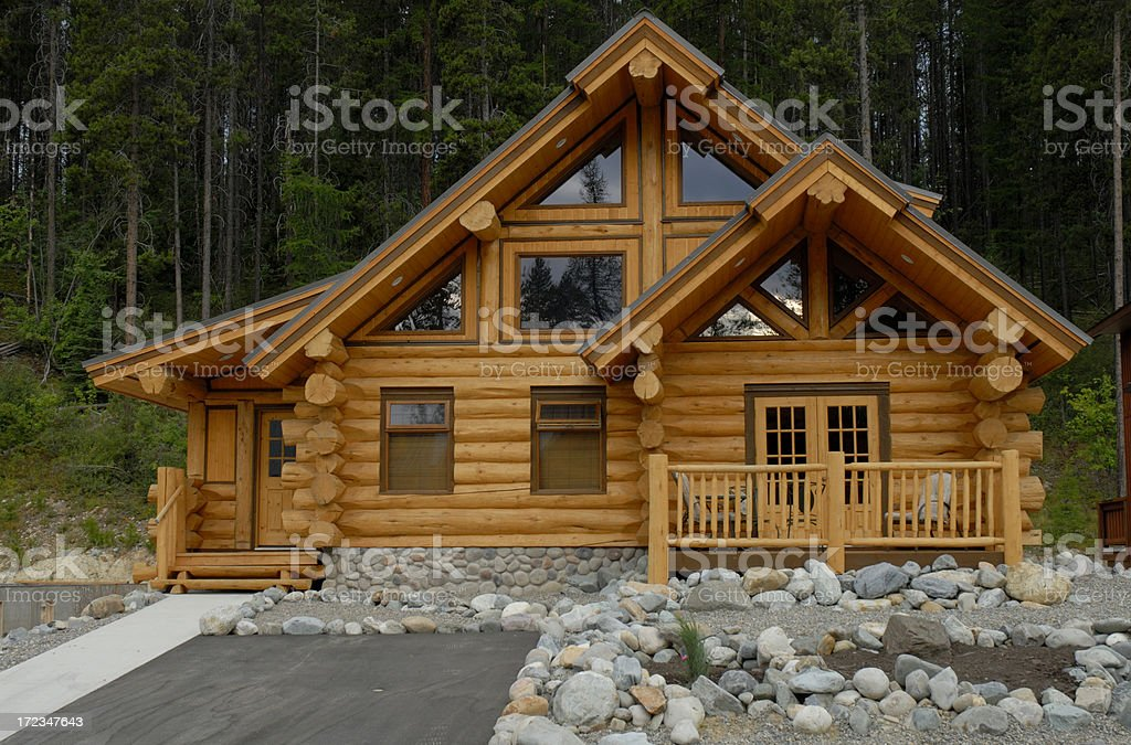Log home with flare royalty-free stock photo