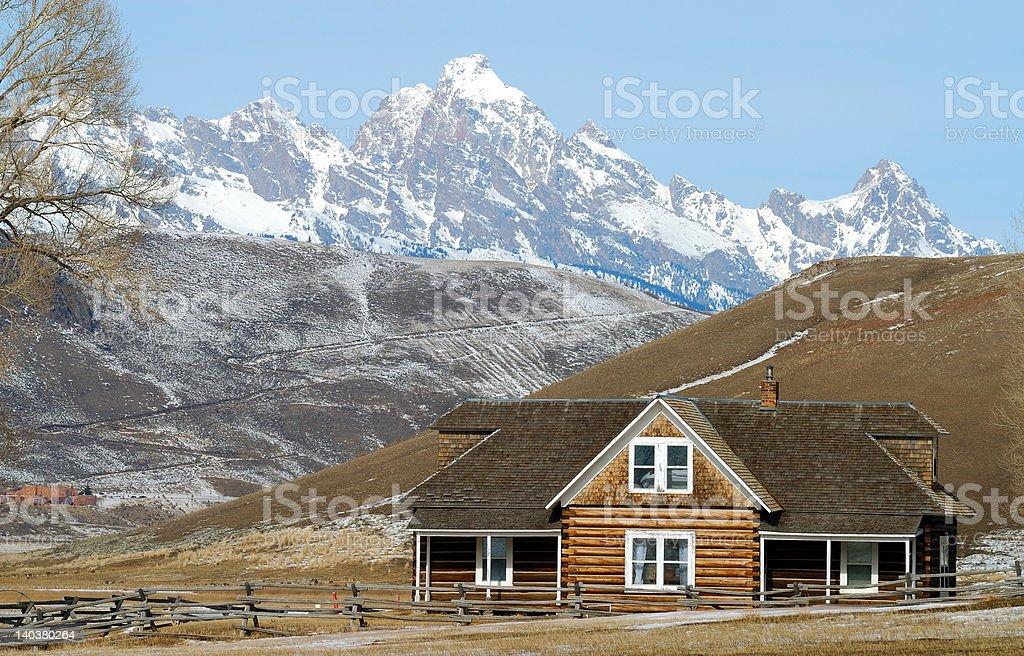 Log House on Prairie stock photo