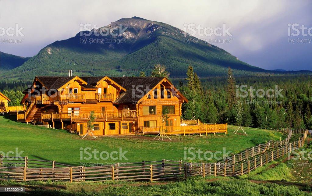 log house ranch stock photo