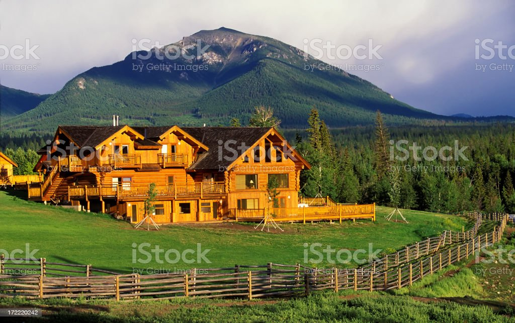 log house ranch stock photo