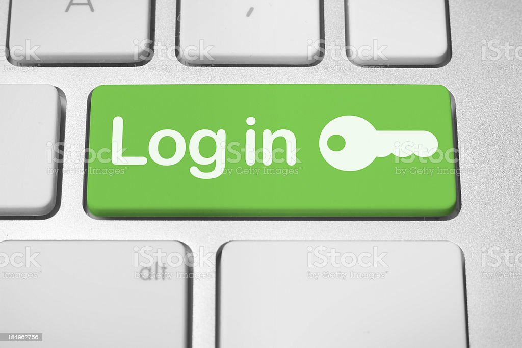 Log in button stock photo