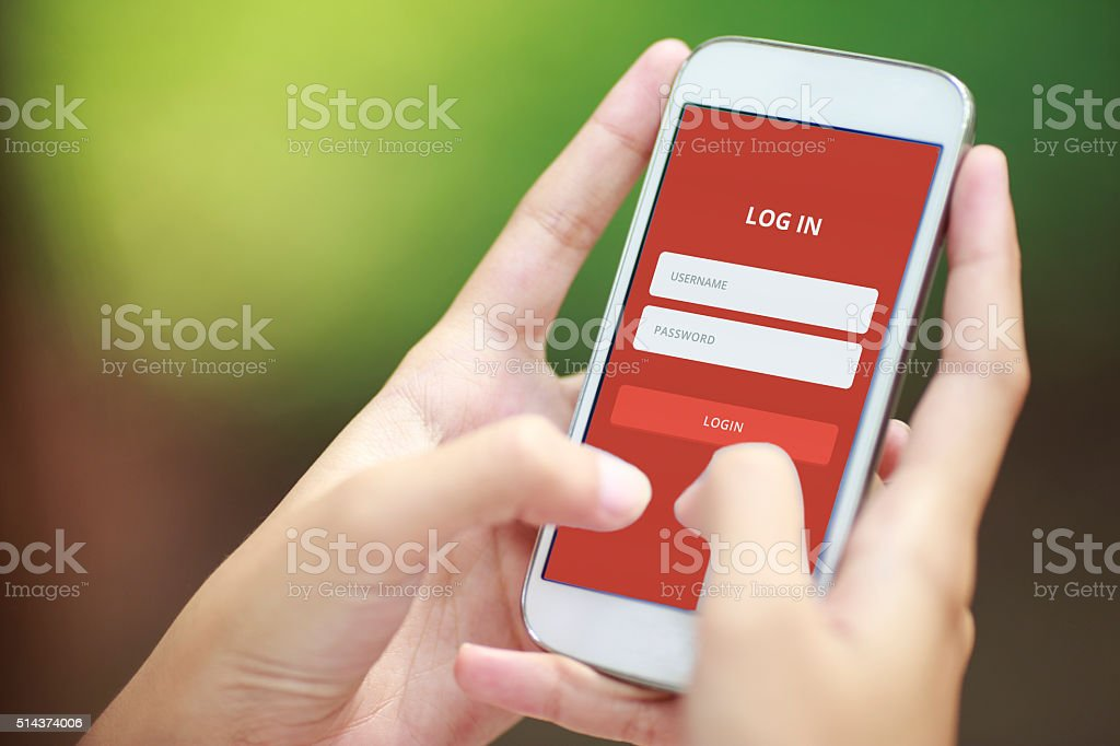 Log in on Smartphone stock photo
