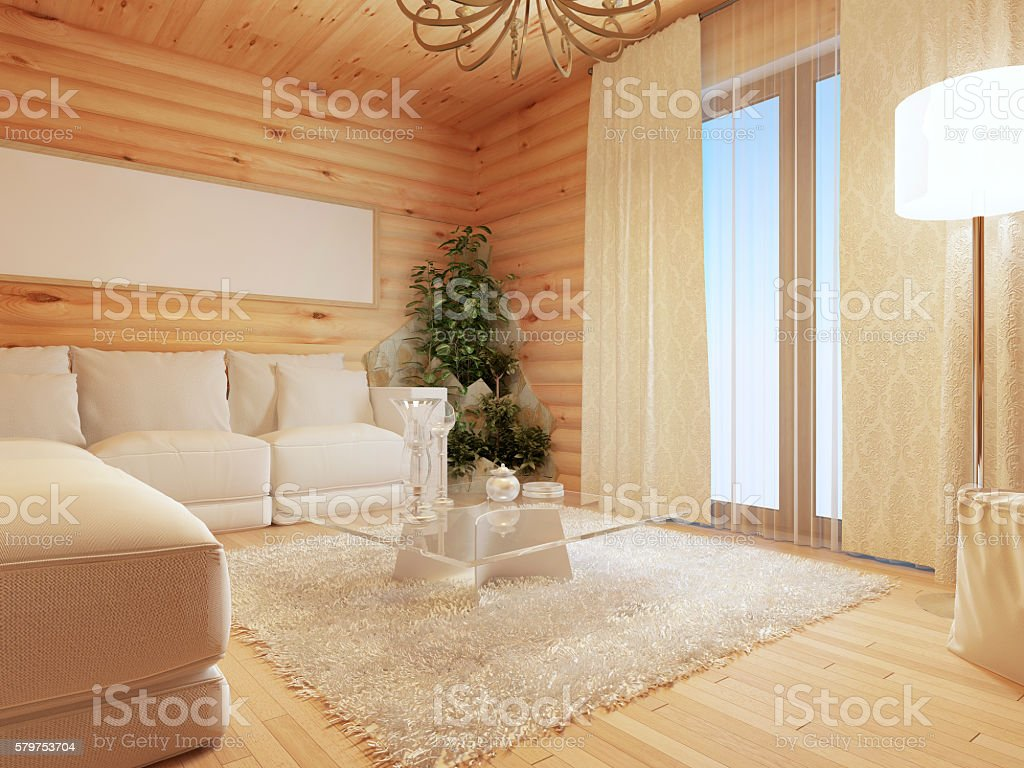 Log living room interior in modern style stock photo