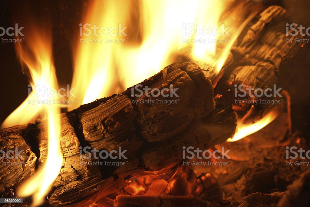 Log on fire stock photo