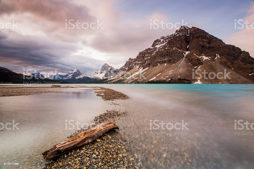 Log on the foreground, Bow Lake stock photo