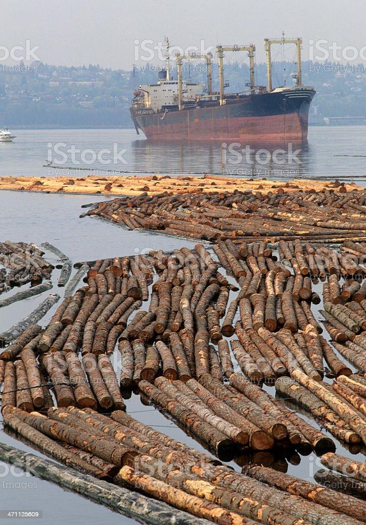 Log rafts and ship royalty-free stock photo