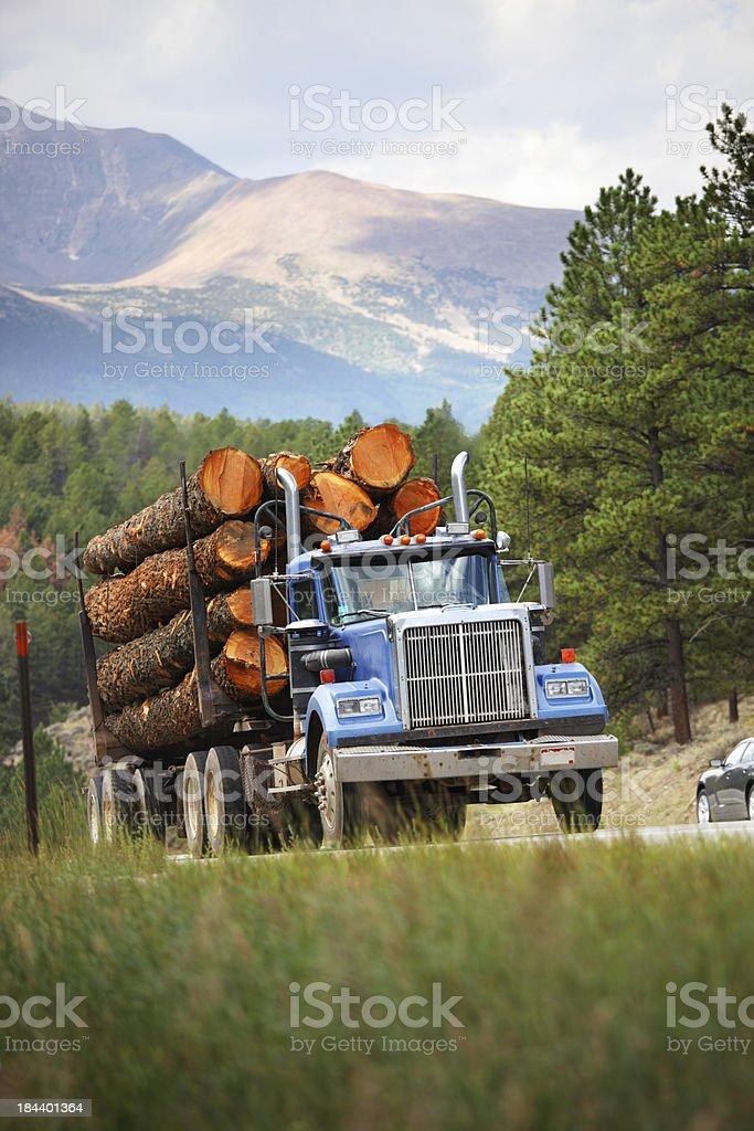 Log Truck Colorado stock photo