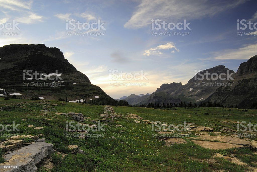 Logan Pass at Sunset stock photo