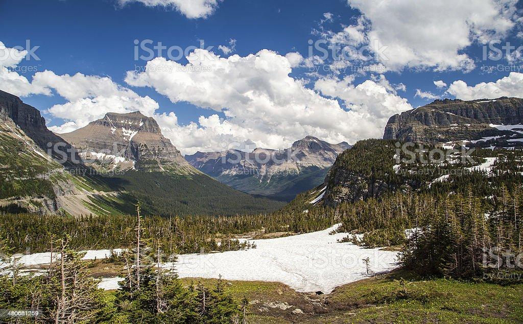 Logan pass scenic  landscape in Glacier national park, MT stock photo