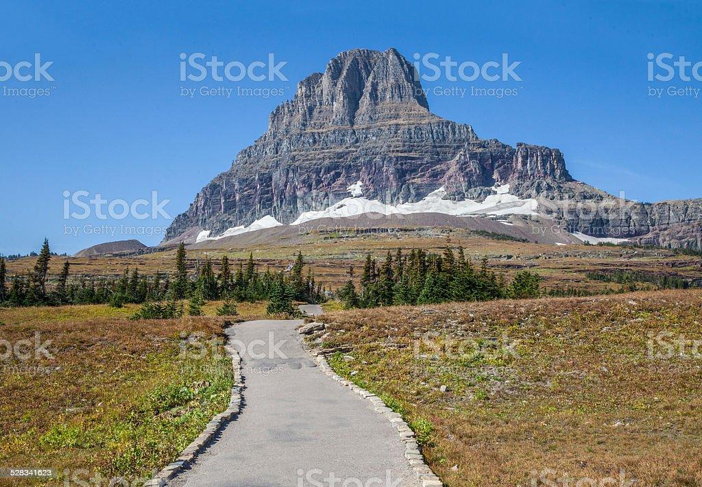 Logan Pass trail and boardwalk stock photo