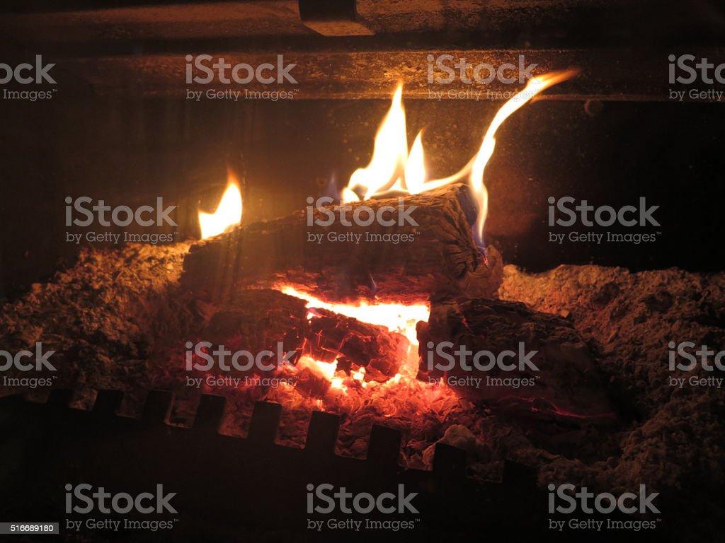 Logfire burning bright stock photo