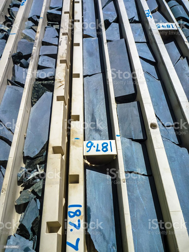 Logged drill core in trays stock photo