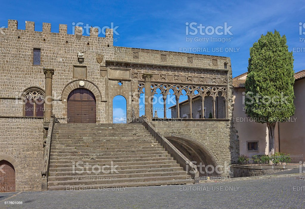 Loggia of the Papal Palace  in Viterbo, Italy, stock photo