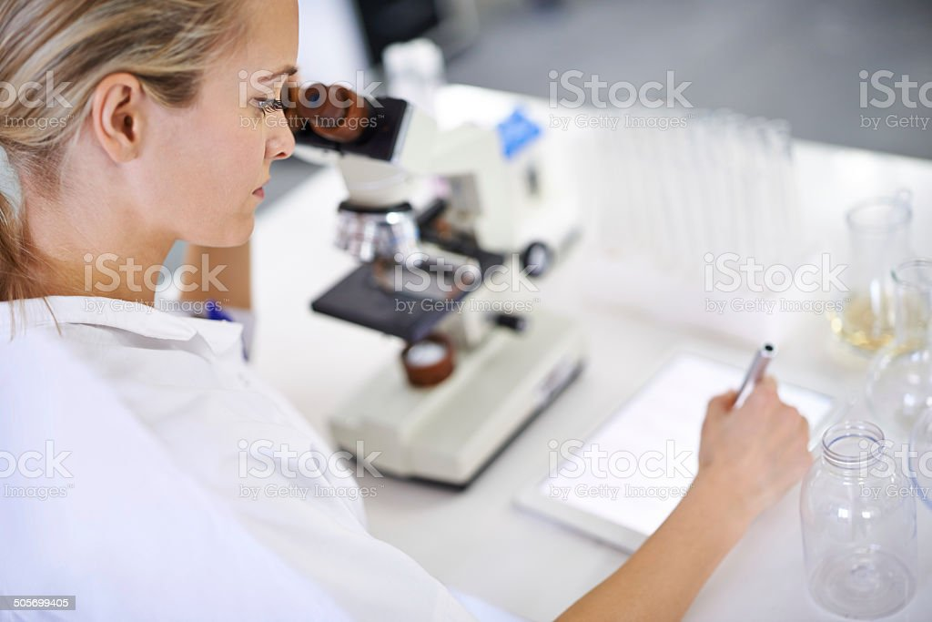 Logging her findings online stock photo