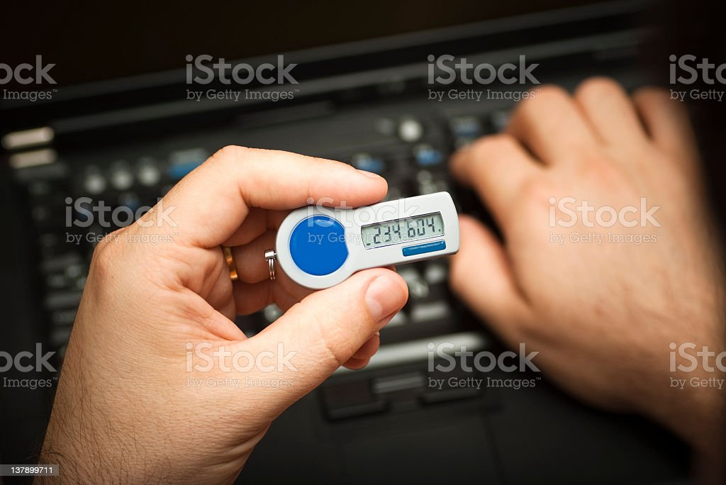 Logging on using a 2nd factor authentication token stock photo