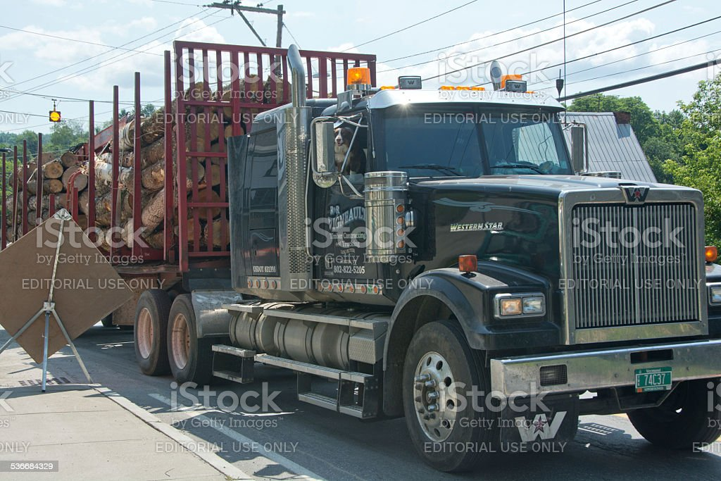 Logging truck in Plainfield, Vermont stock photo