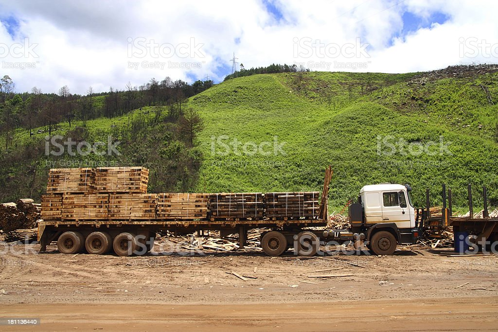 Logging truck loaded with cut planks. royalty-free stock photo