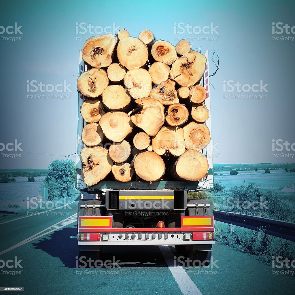 Logging truck on the highway. stock photo