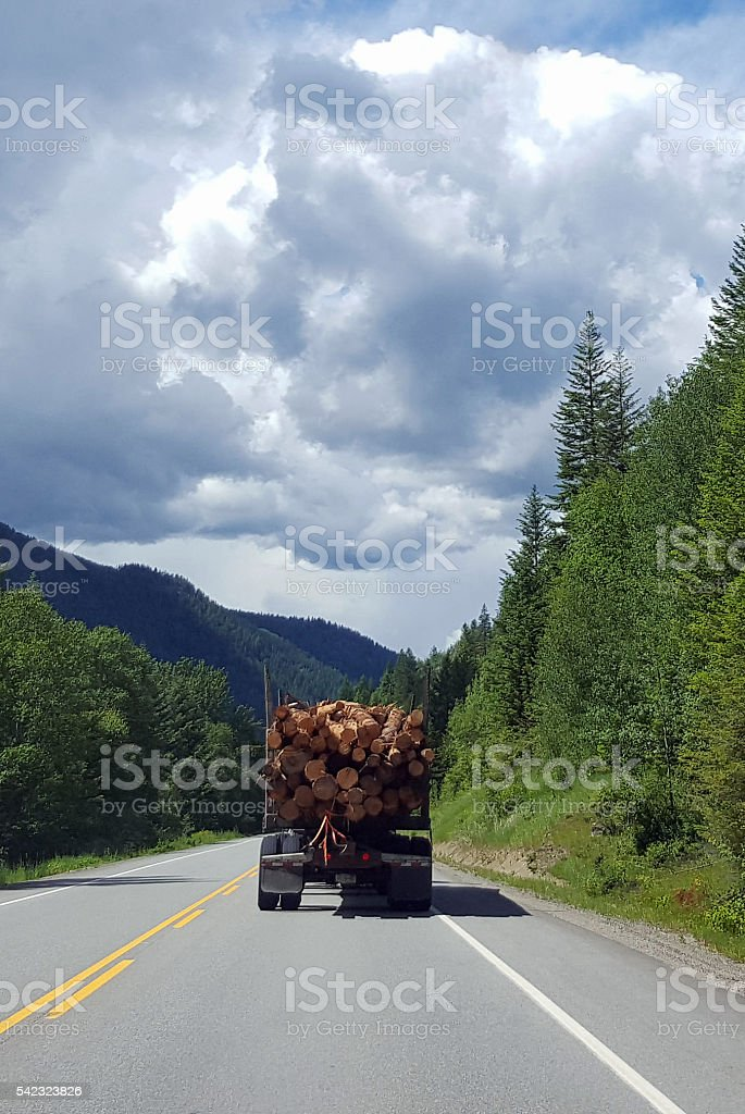 Logging Truck Traveling A Treed Forest Highway stock photo