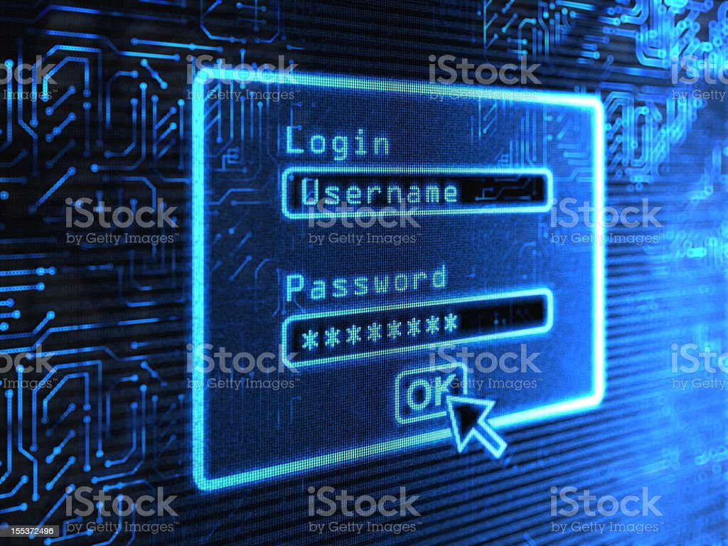 A login and password box on a blue computer screen vector art illustration