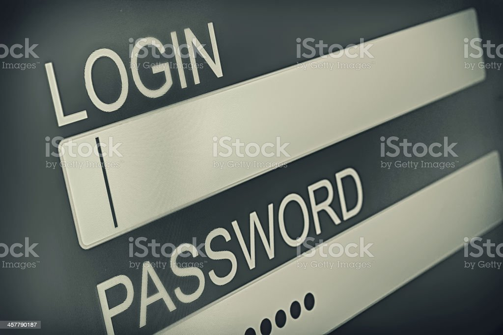 Login box stock photo