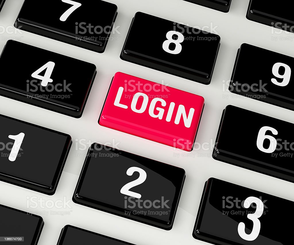 login button on colored keyboard telephone royalty-free stock photo
