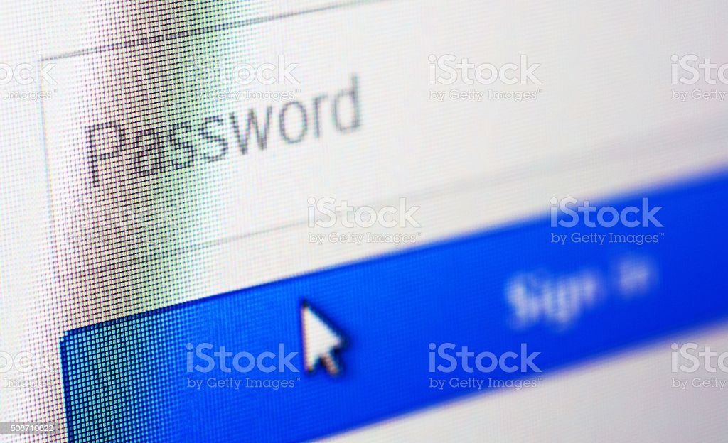 Login form on web page stock photo