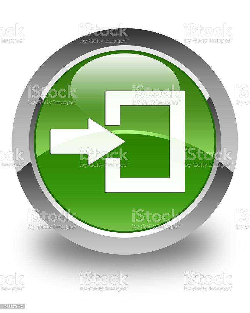 Login icon glossy soft green round button stock photo