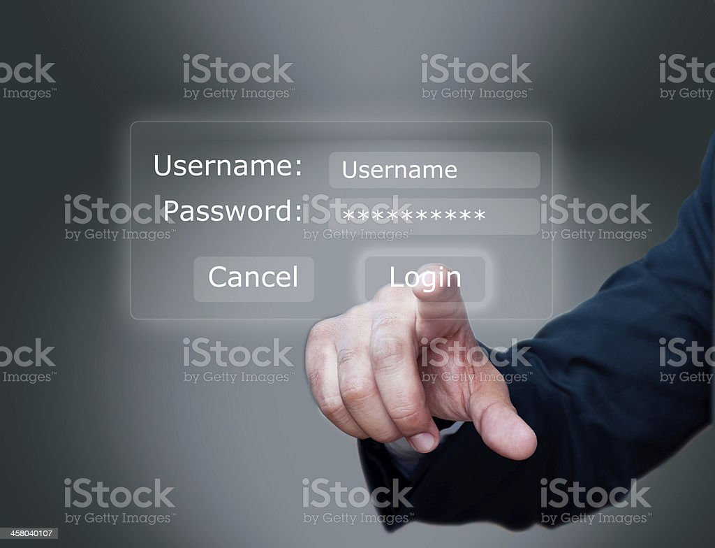 Login interface- username and password stock photo