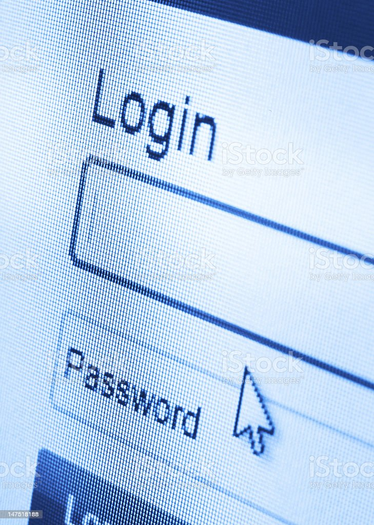 Login on screen stock photo