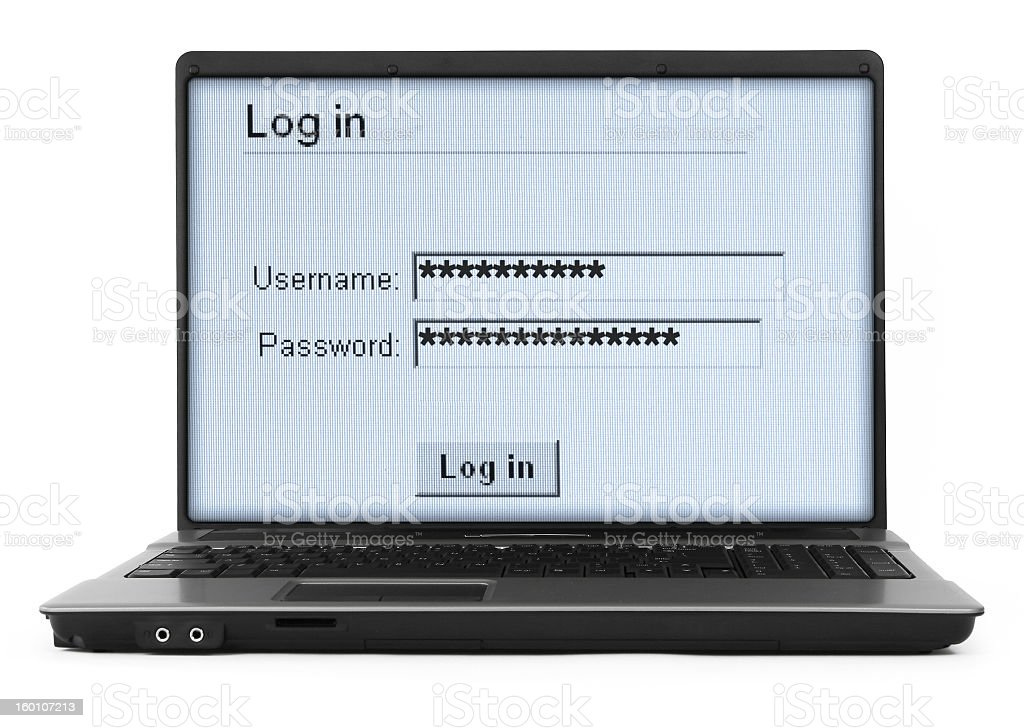 Login screen on a laptop isolated on white royalty-free stock photo