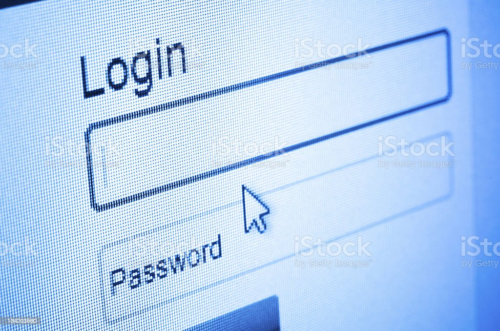 Login screen with mouse cursor taken at an angle stock photo