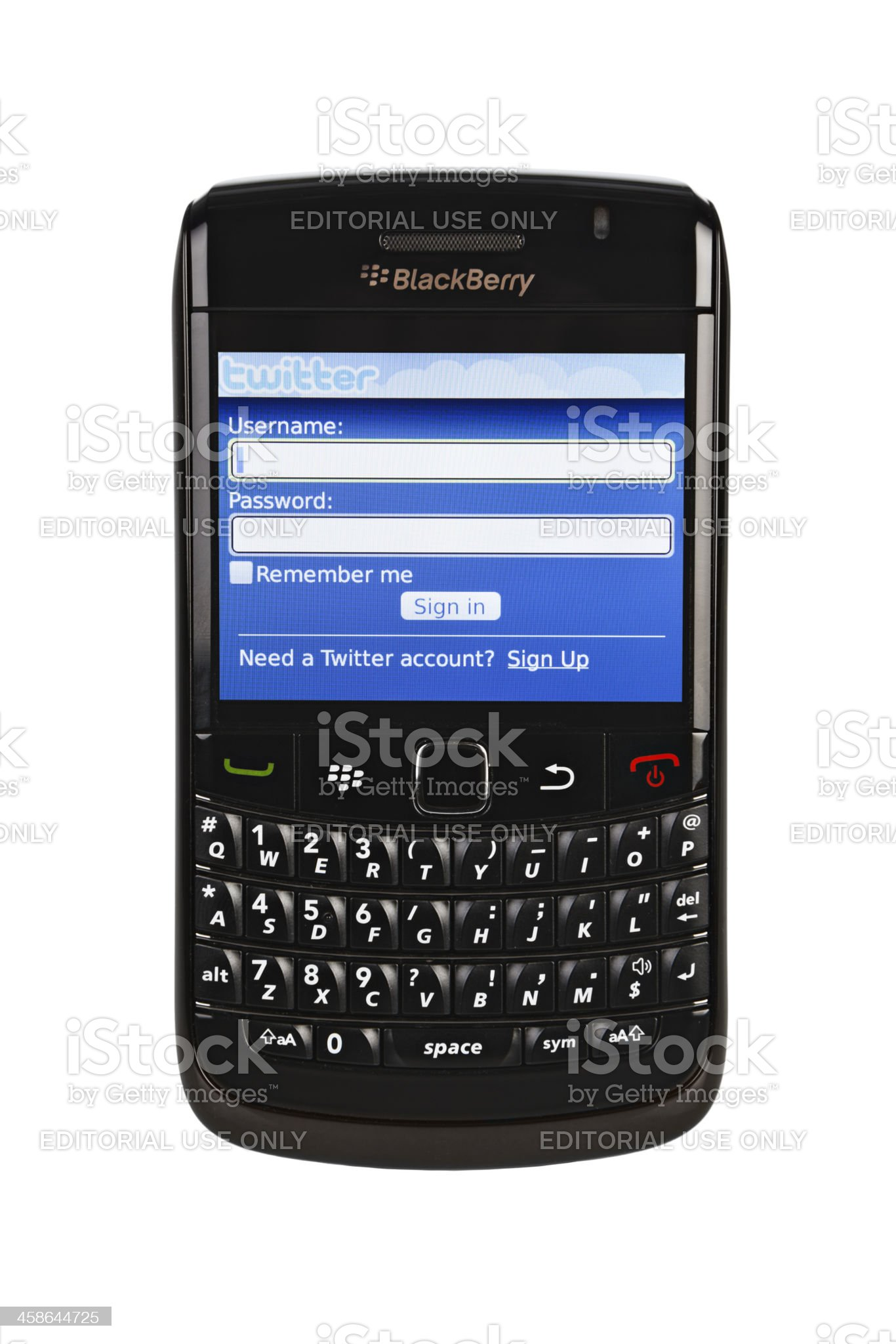 Log-in to your Twitter account on a Blackberry Bold 9780 royalty-free stock photo