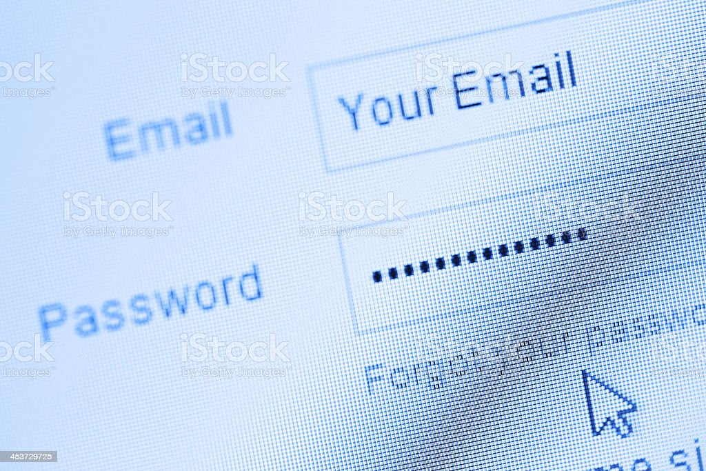 Login with email and password on computer screen stock photo