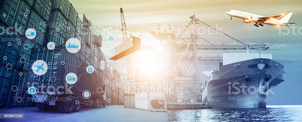Logistics and transportation concept stock photo