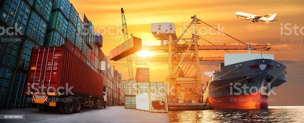 Logistics and transportation of Container Cargo ship and Cargo plane stock photo