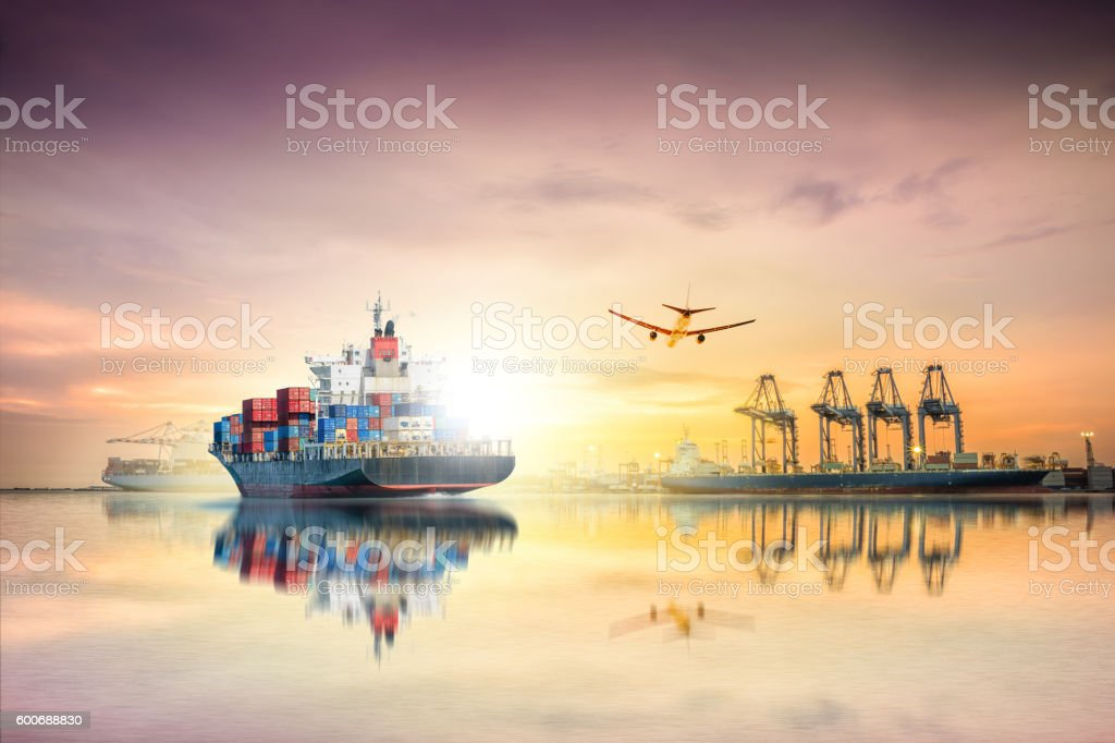Logistics and transportation of Container Cargo ship stock photo