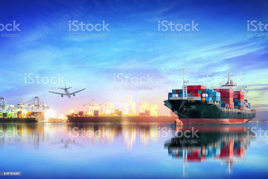 Logistics and transportation of international container cargo ship stock photo